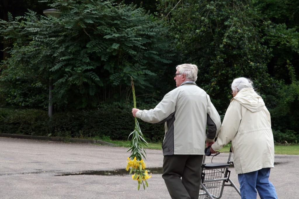 Bezoekers verlaten de demonstratie met lelies, 2015, KCCM