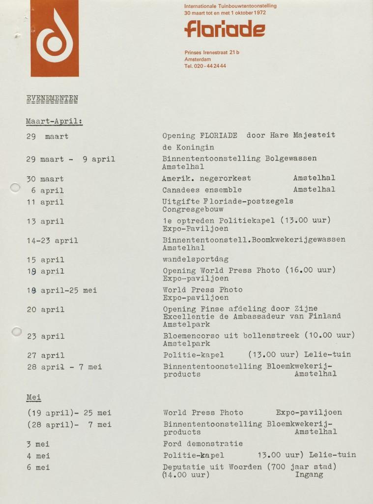Pagina 1 uit 4 van het Floriade programma, 1972, Noord-Hollands Archief
