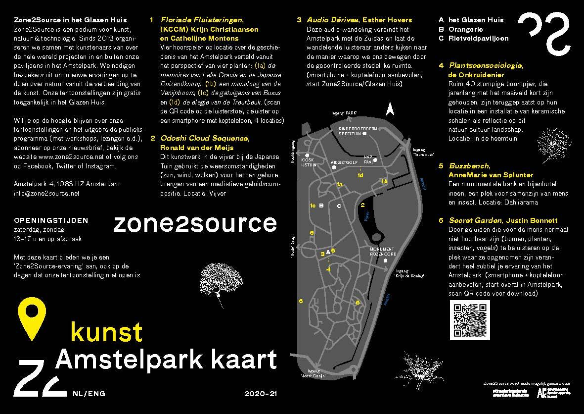 Plattegrond Amstelpark met kunstwerken gerealiseerd ism Zone2Source