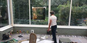 Lex ter Braak werkt in Orangerie aan Bilderbaumbuch